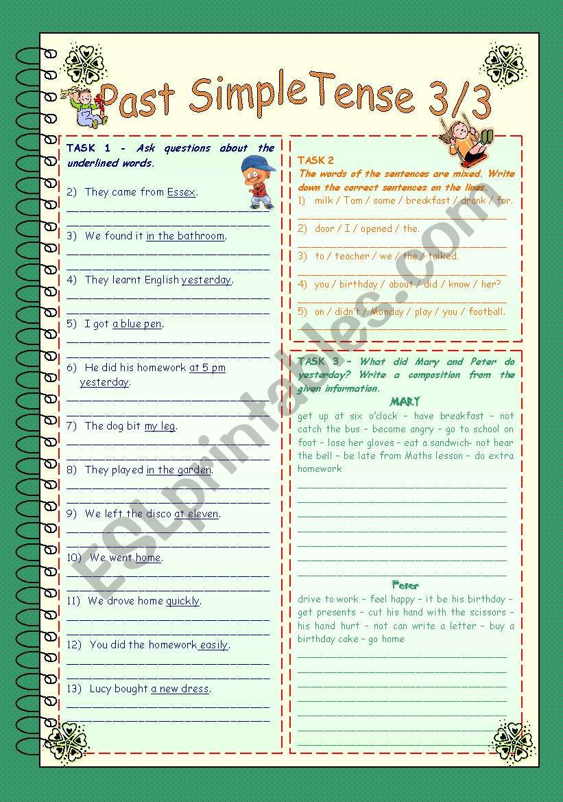 Past Simple Tense 3/3 * Irregular verbs part 1 * 2 pages ...