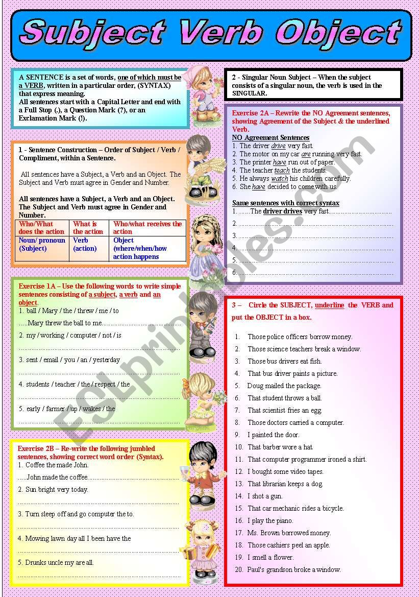 """""""SUBJECT, VERB, OBJECT"""" – (( Explanations, 4 Exercises & 36 Sentences to complete )) – Elementary/Intermediate – (( B&W VERSION INCLUDED ))"""