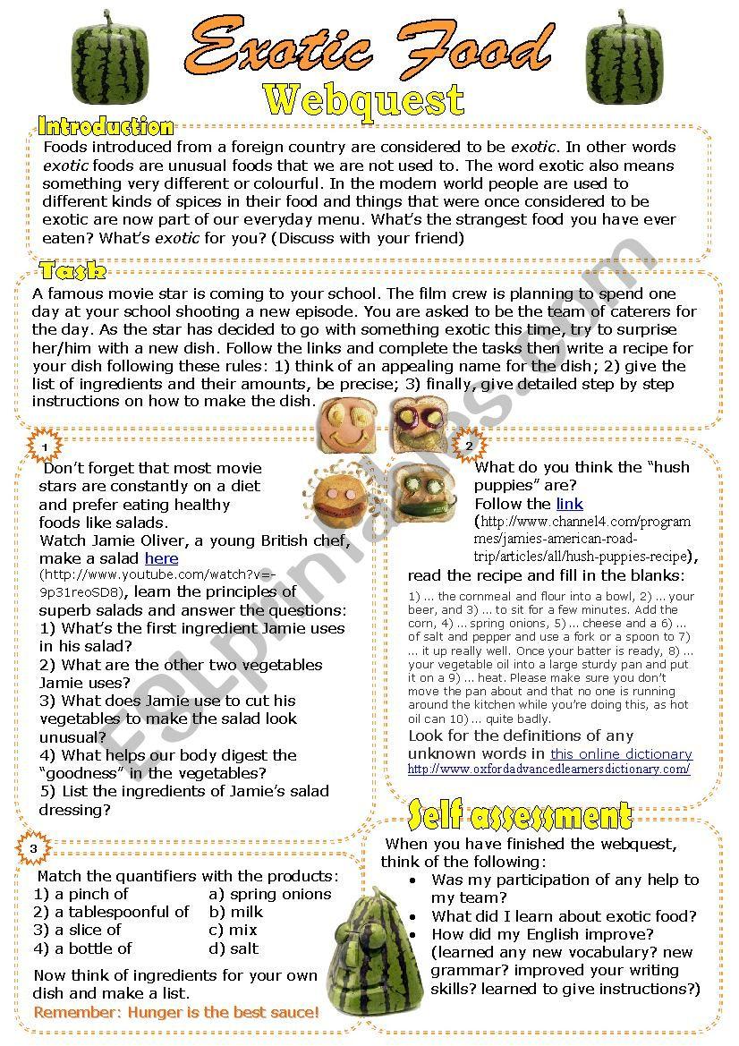 Exotic Food Webquest worksheet