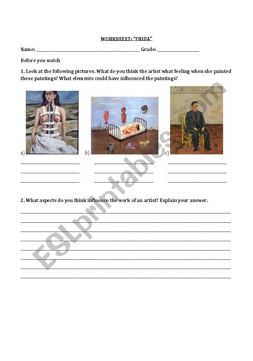 Worksheets Frida Kahlo Worksheets worksheet frida kahlo esl by ellamoss worksheet