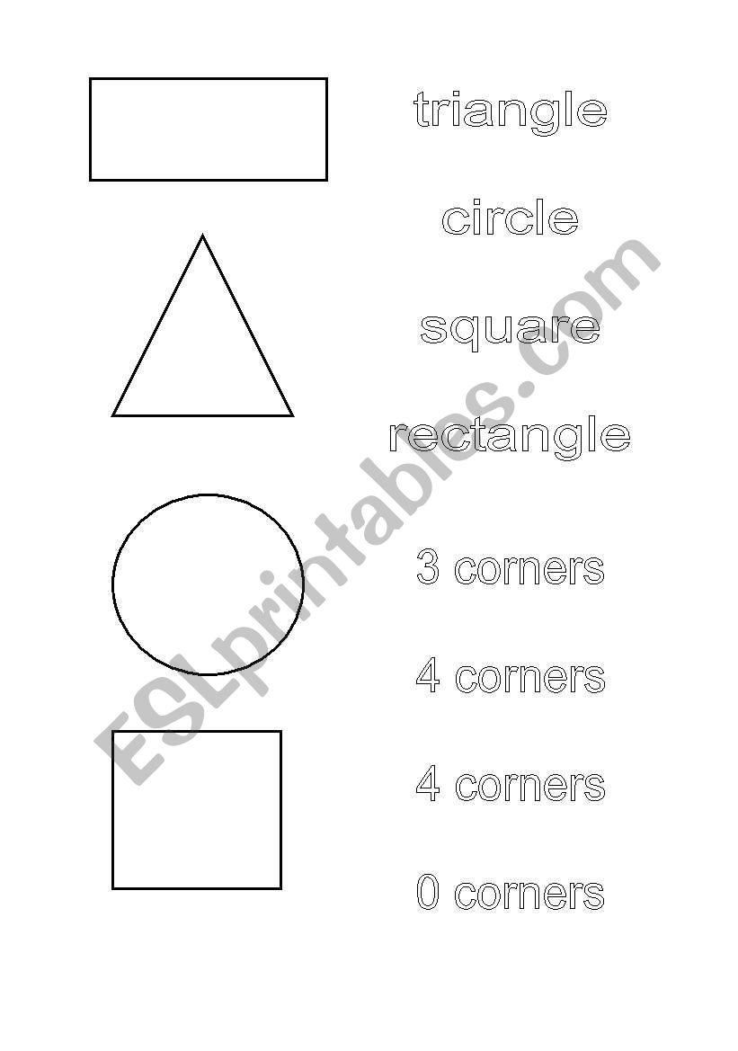 english worksheets 2d shapes match shape to name. Black Bedroom Furniture Sets. Home Design Ideas