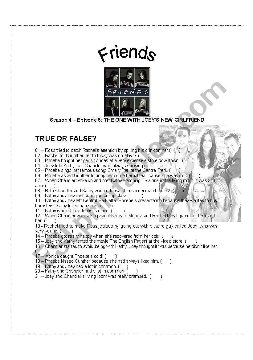 FRIENDS VIDEO ACTIVITY - Season 4 – Ep  5: THE ONE WITH