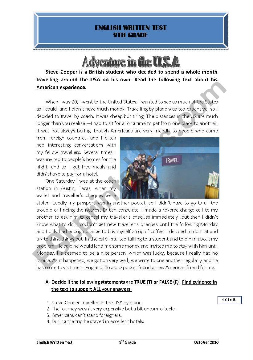 adventure in the USA worksheet