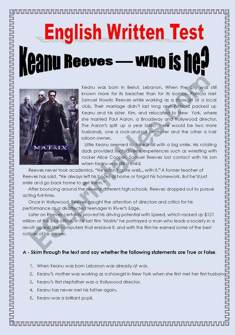 Keanu Reeves worksheet