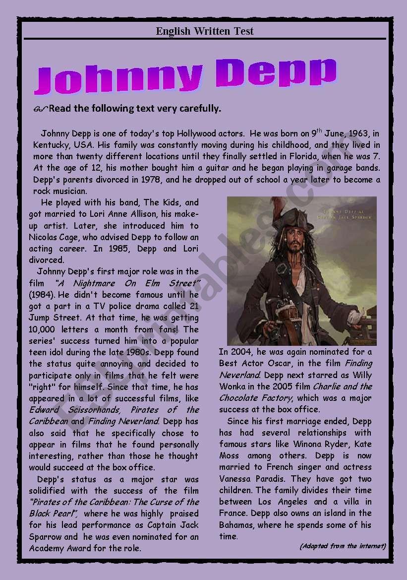 Test - Johnny Depp worksheet