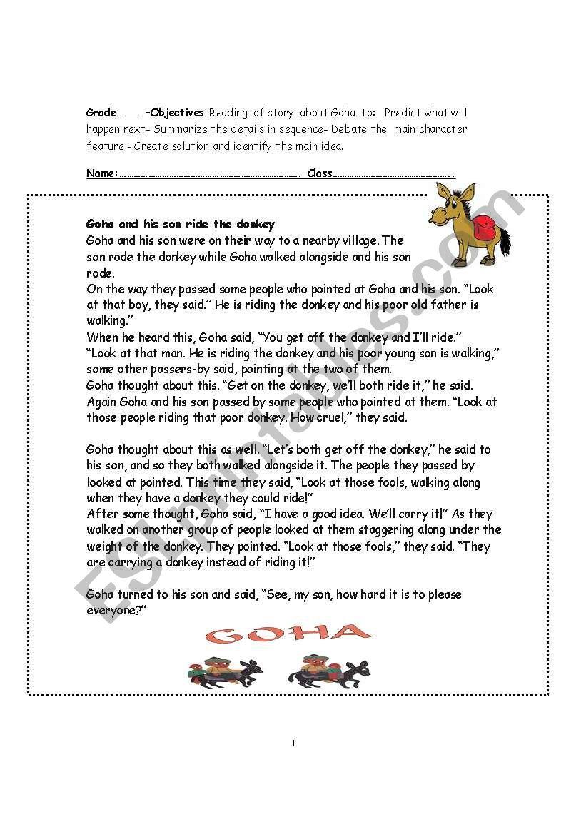 Reading comprehension- Goha worksheet