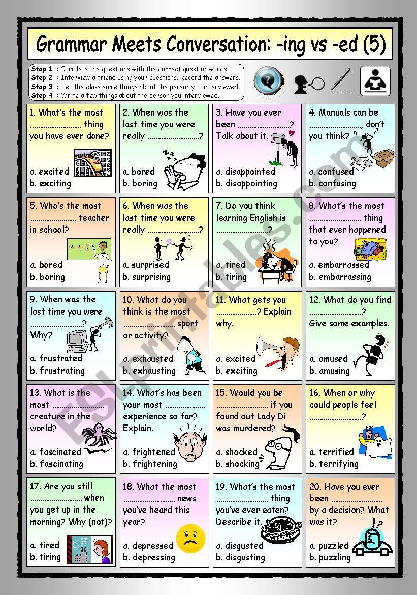 Grammar Meets Conversation: -ING vs -ED Adjectives (5) - Asking about Experiences and Opinions