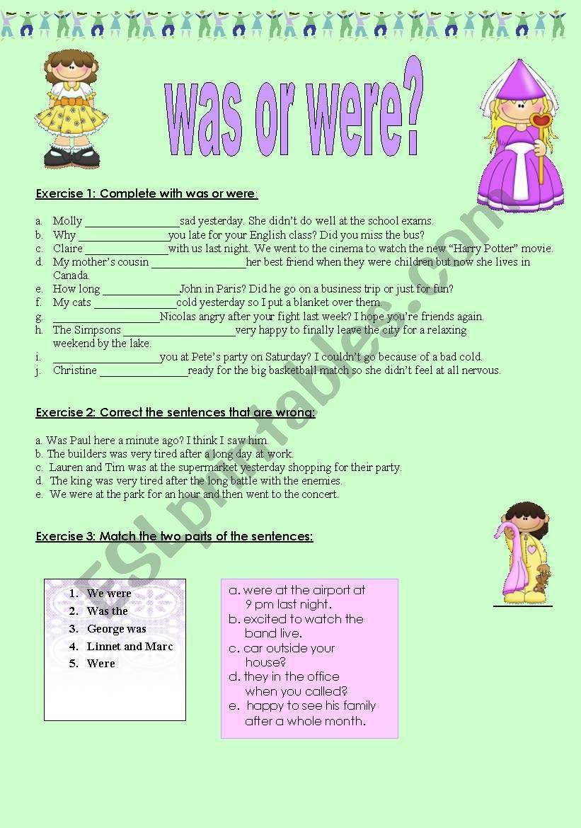 was or were? worksheet