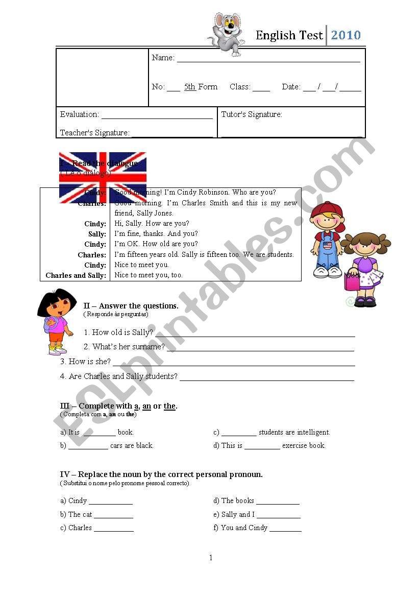 2nd test - 5th Grade worksheet