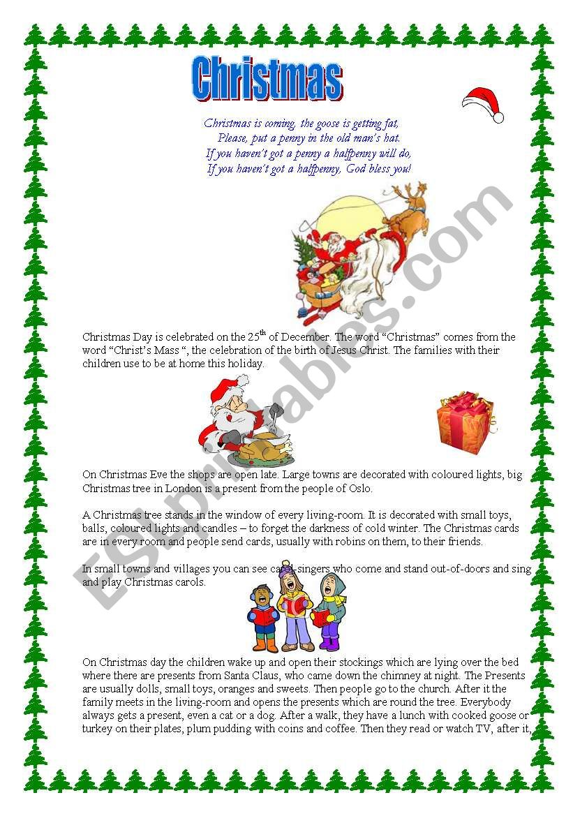 Christmas is coming worksheet