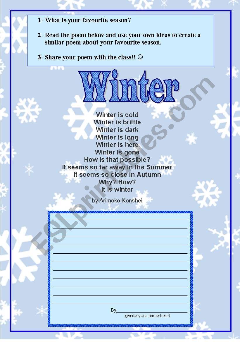 English Worksheets Poem Winter