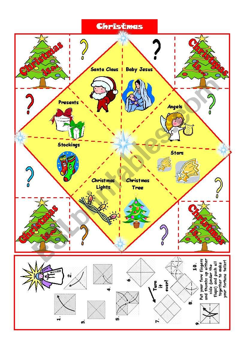 picture relating to Fortune Teller Printable identify Xmas vocabulary- Fortune Teller + BW edition - ESL