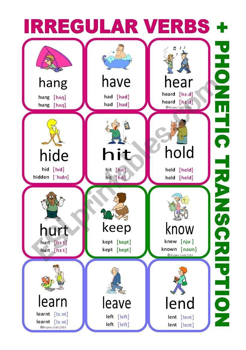 Set4: Irregular verbs cards + phonetic transcription - ESL worksheet