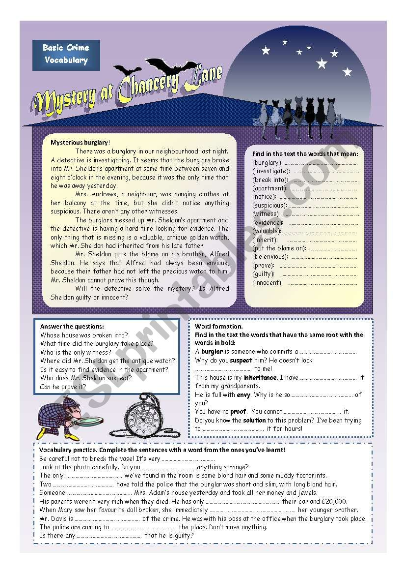Solve the mystery! (2 pages) worksheet