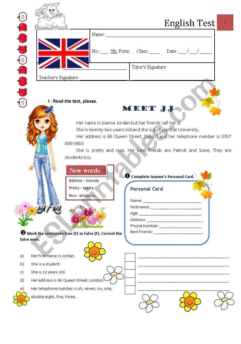 Test A - 5th Grade worksheet