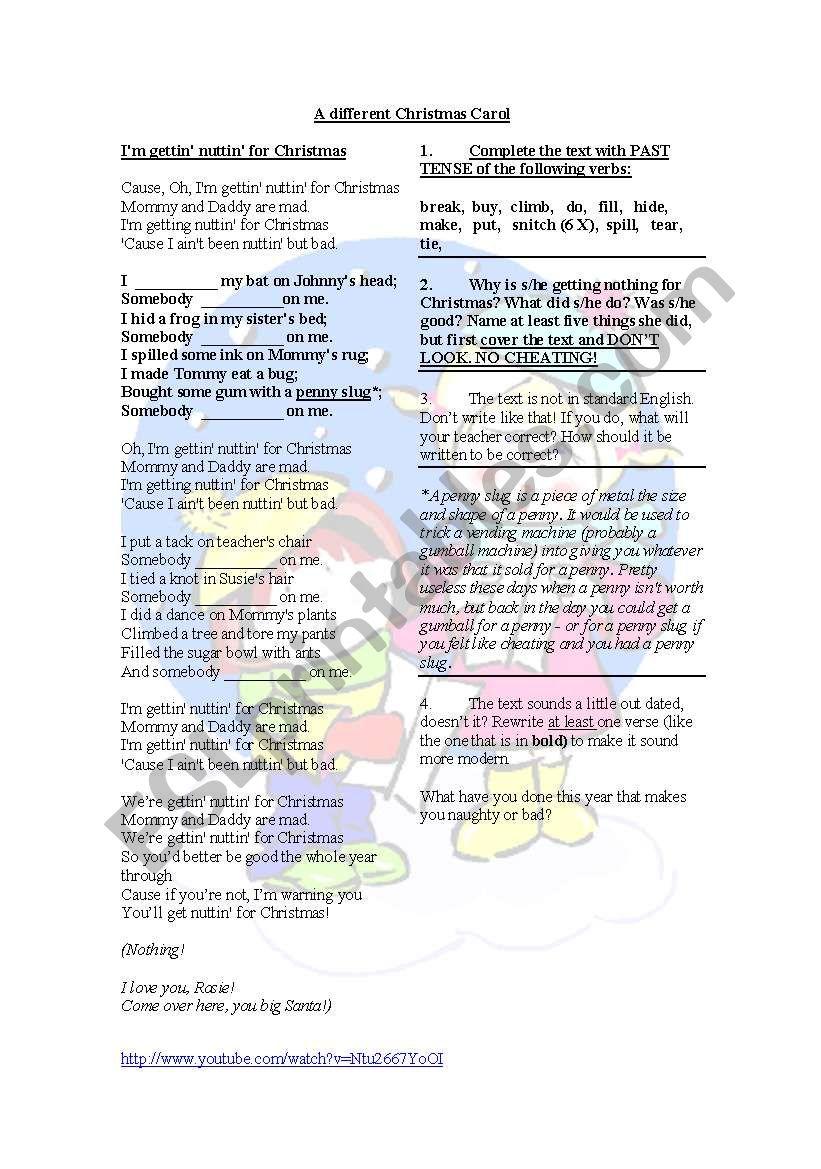 A different Christmas Carol - ESL worksheet by Minka
