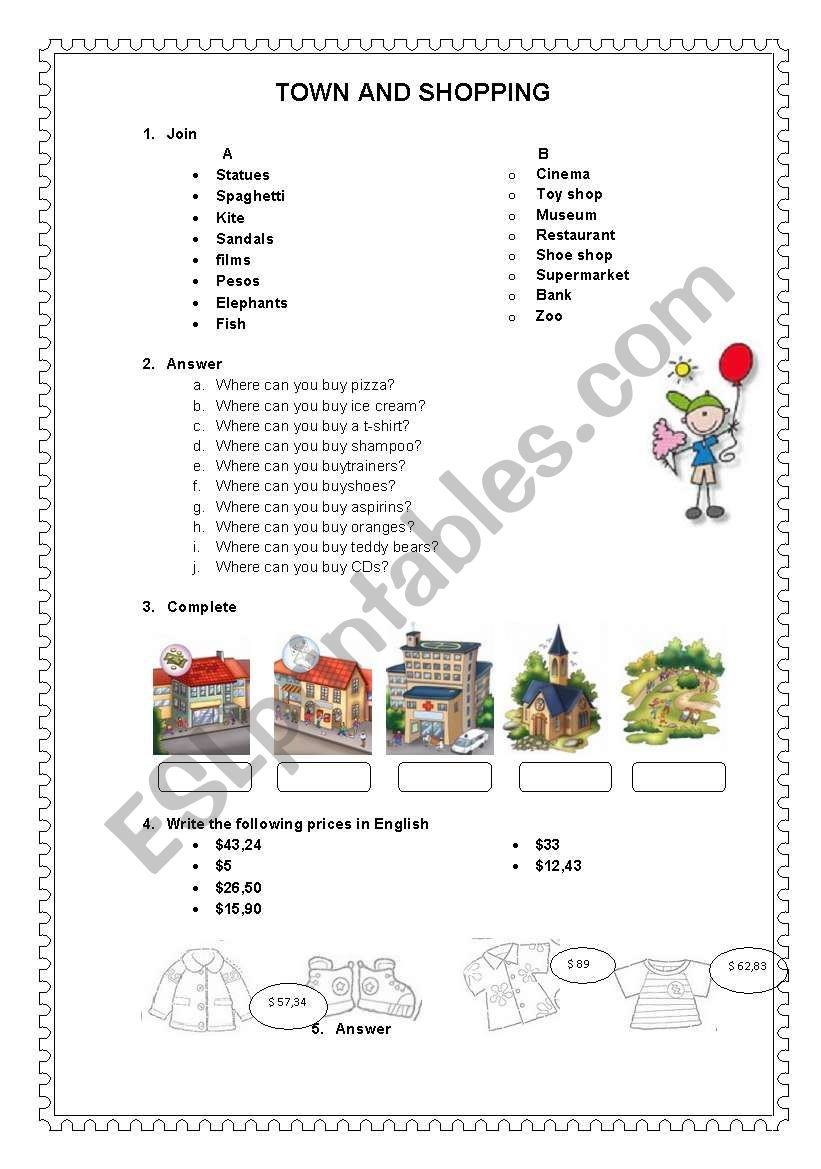 TOWN AND SHOPS worksheet