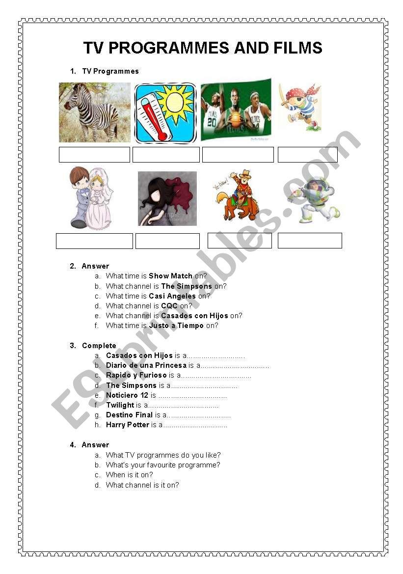 TV PROGRAMMES & FILMS worksheet