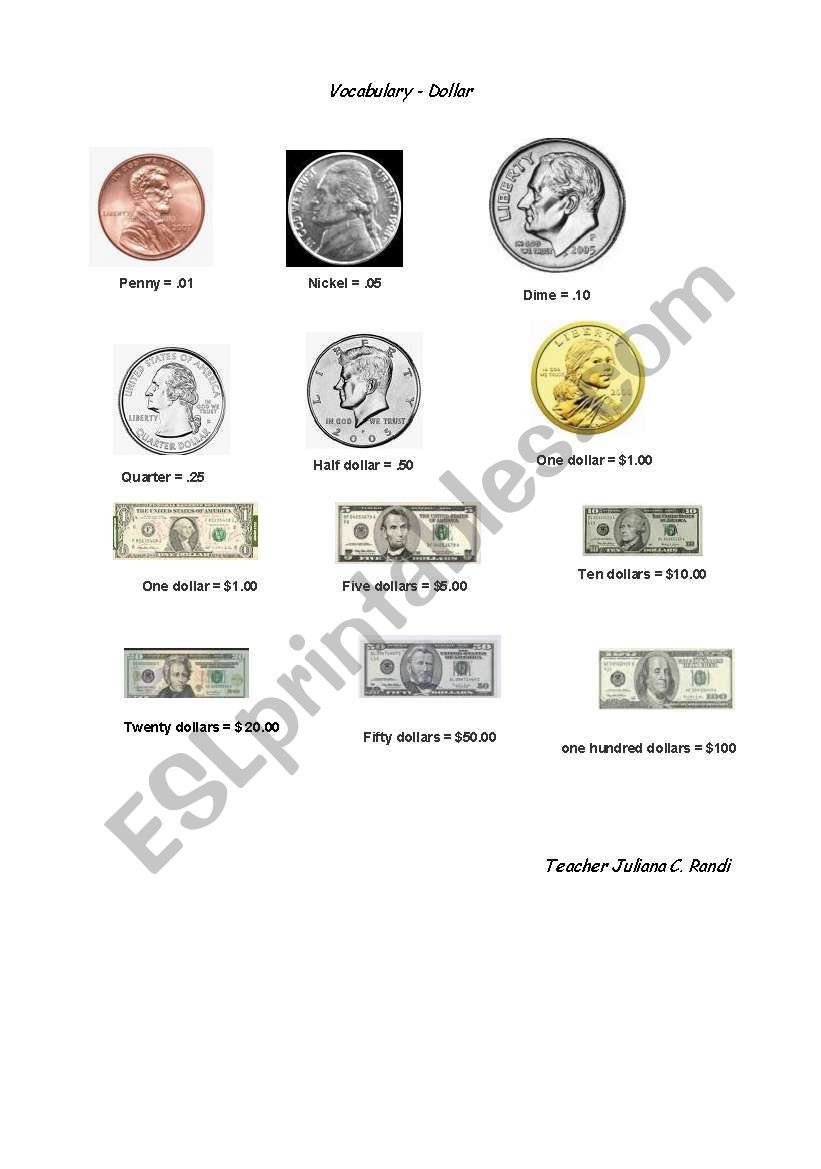 Vocabulary about money - American Dollars and Cents