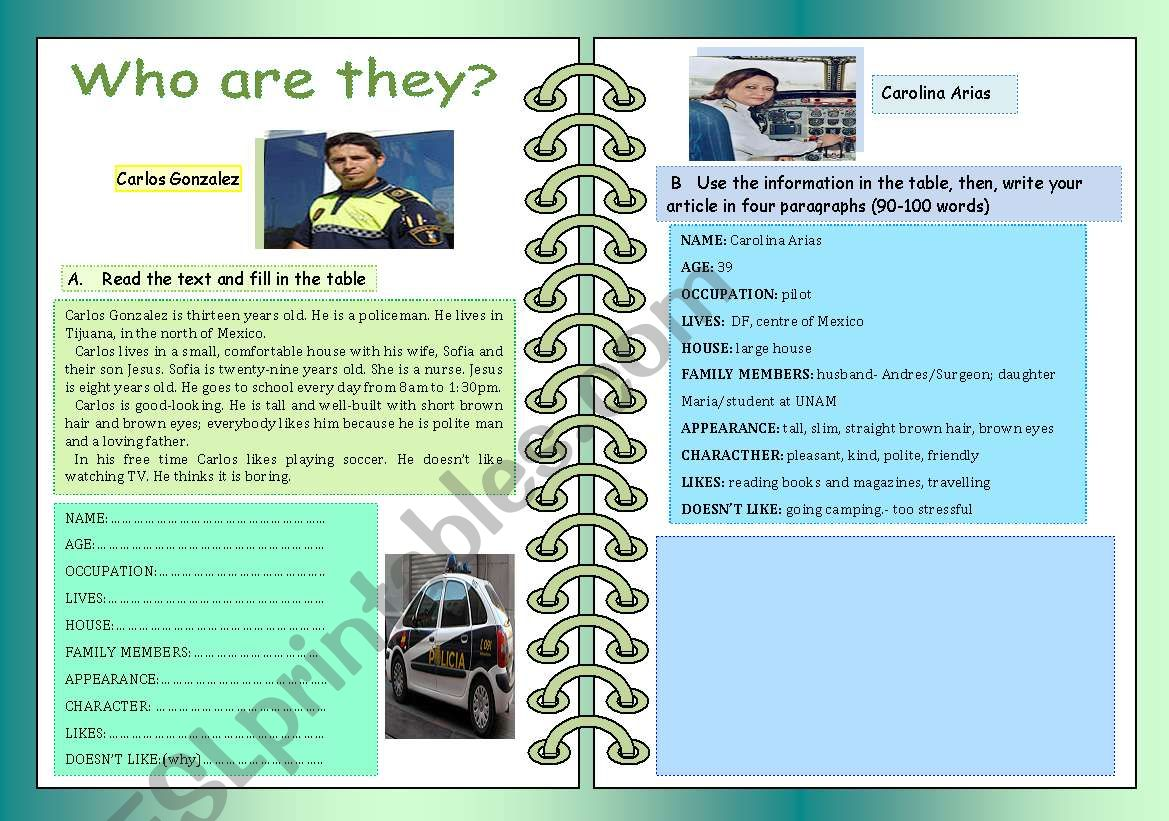 WHO ARE THEY? worksheet