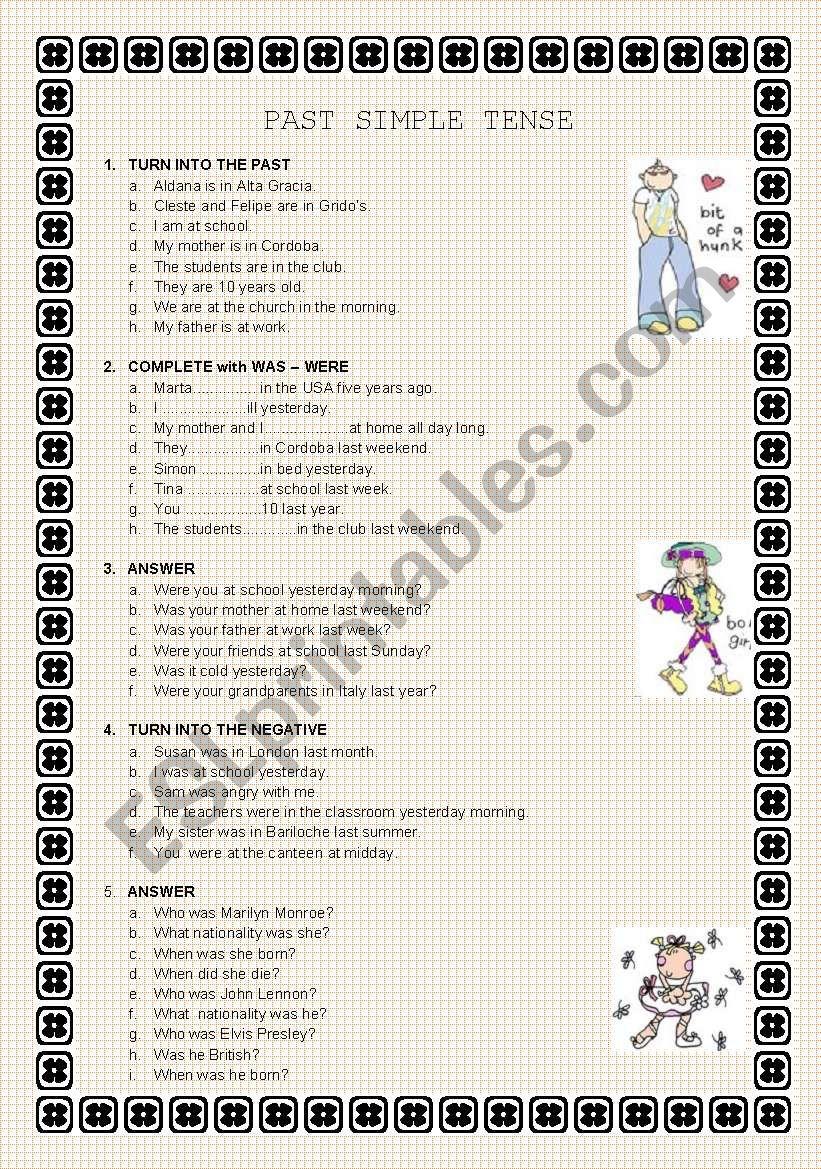PAST SIMPLE TENSE worksheet