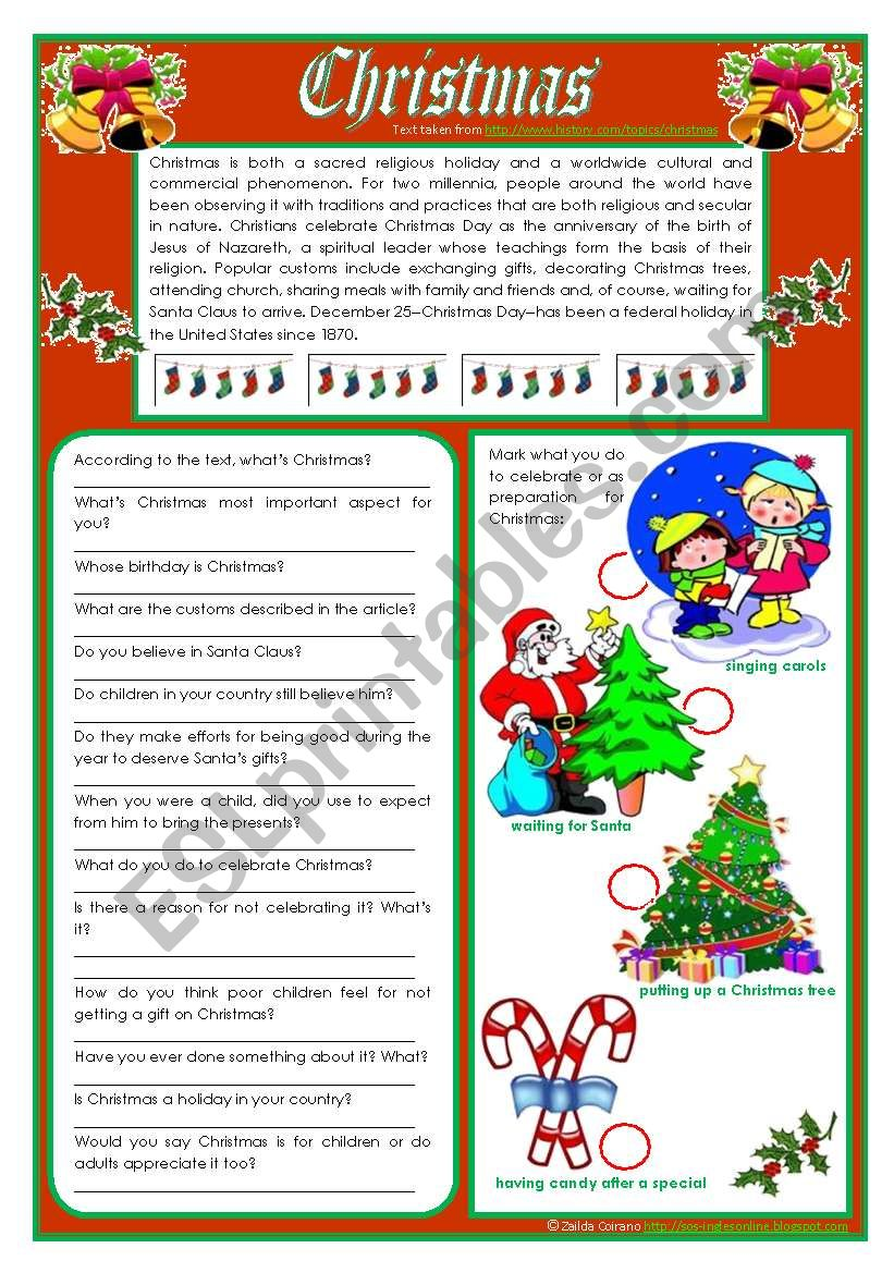 Christmas - reading and vocabulary ***editable