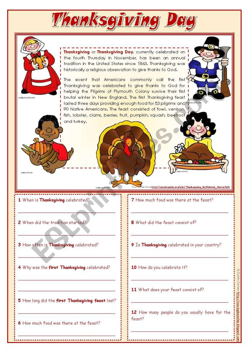 Thanksgiving Day - reading comprehension ***editable