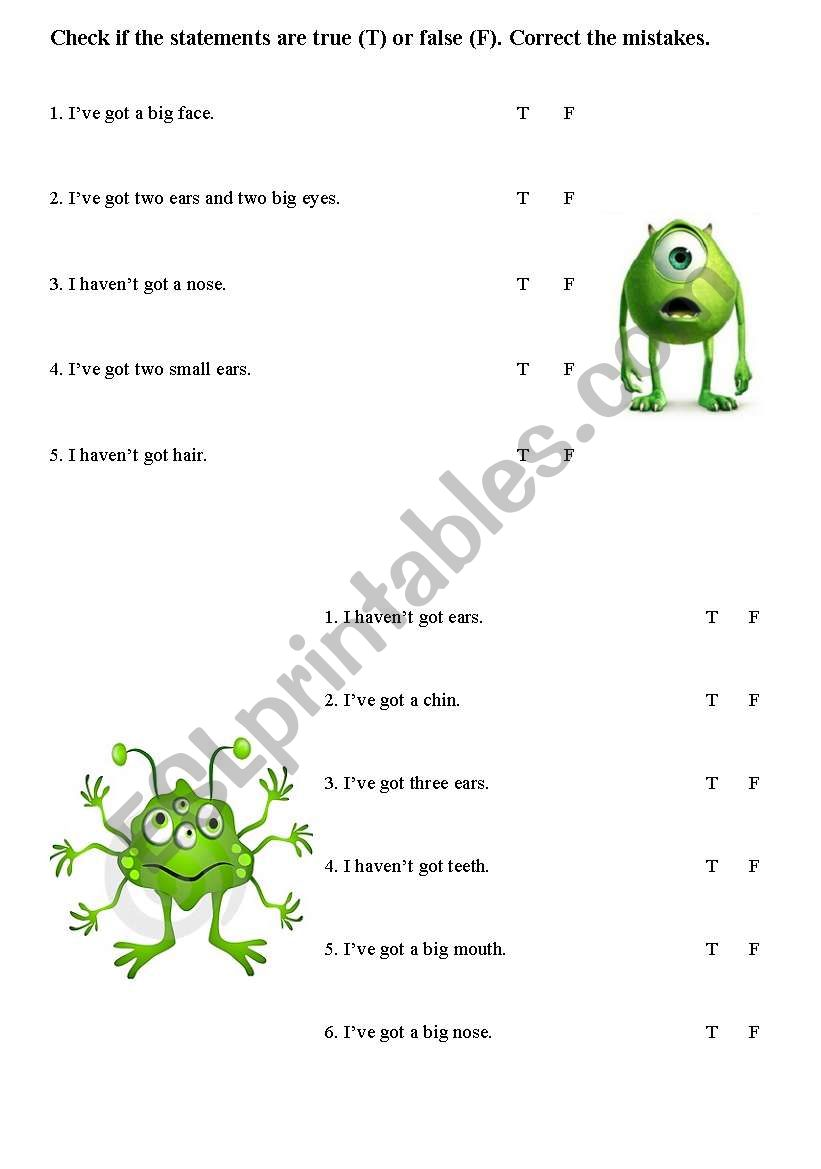 Funny monsters - the parts of the face worksheet