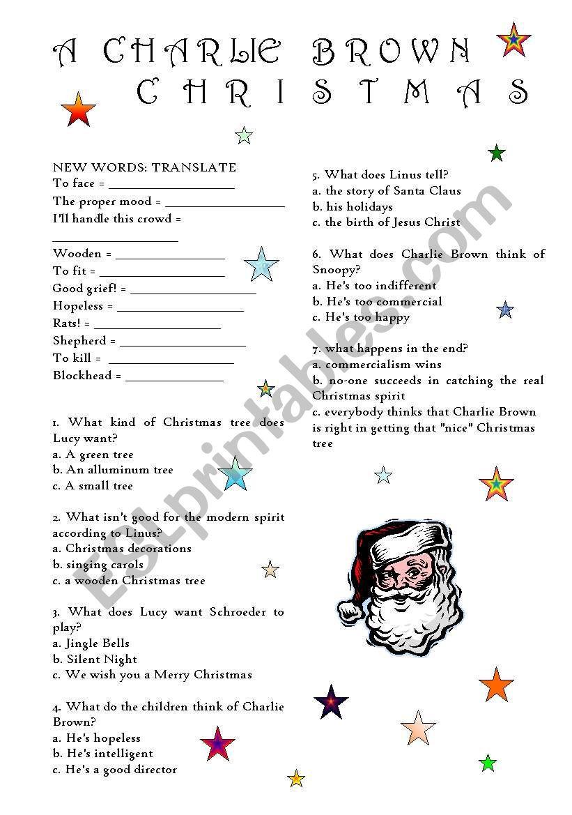 A Charlie Brown Christmas worksheet