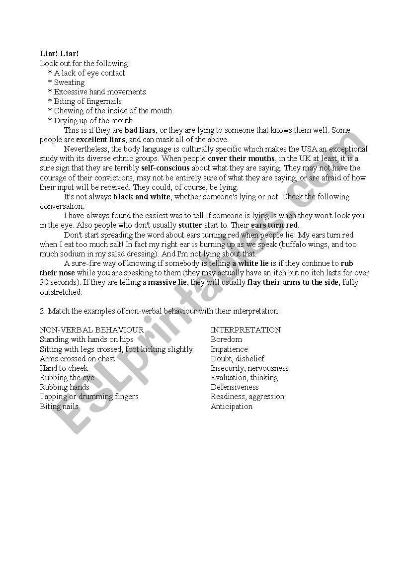Liar And Body Language Esl Worksheet By Widzia