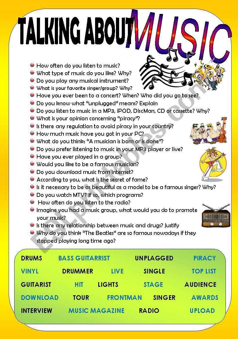 TALKING ABOUT MUSIC worksheet
