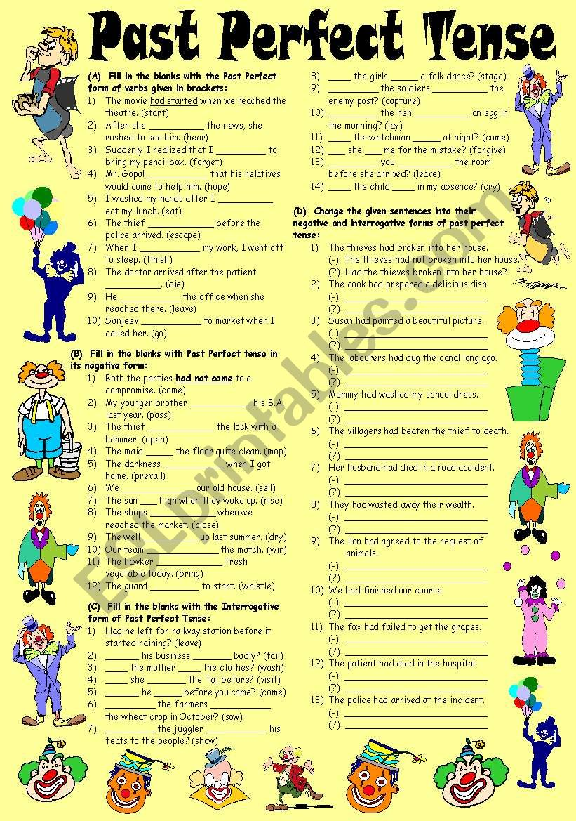 Exercises on Past Perfect Tense – Positive, Negative & Interrogative Forms (Editable with Key)