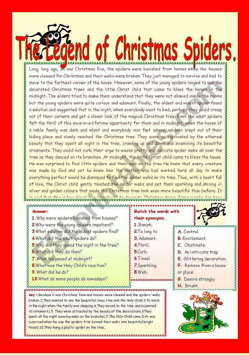 image regarding Legend of the Christmas Spider Printable identified as THE LEGEND OF Xmas SPIDERS. - ESL worksheet by means of LUCETTA06