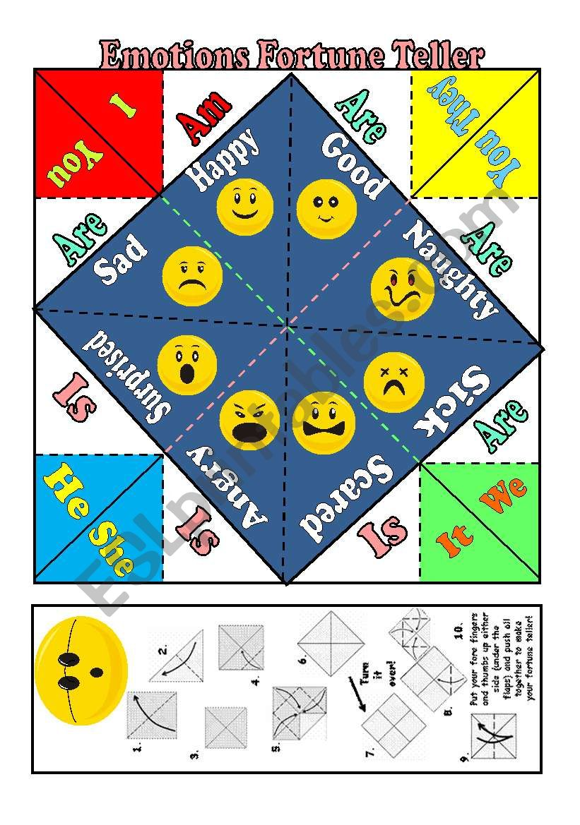 Emotions Fortune Teller+ VERB TO BE+ B&W version- Fully Editable