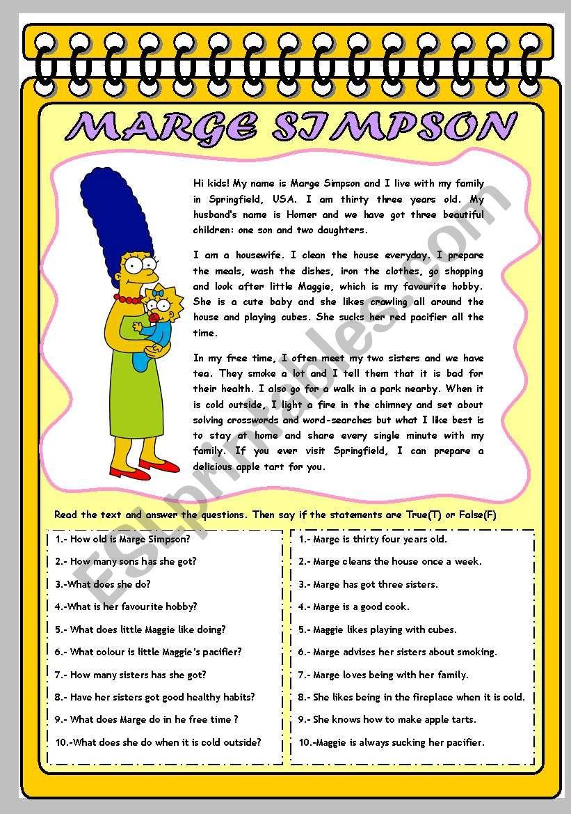 MARGE SIMPSON: HER PROFILE worksheet