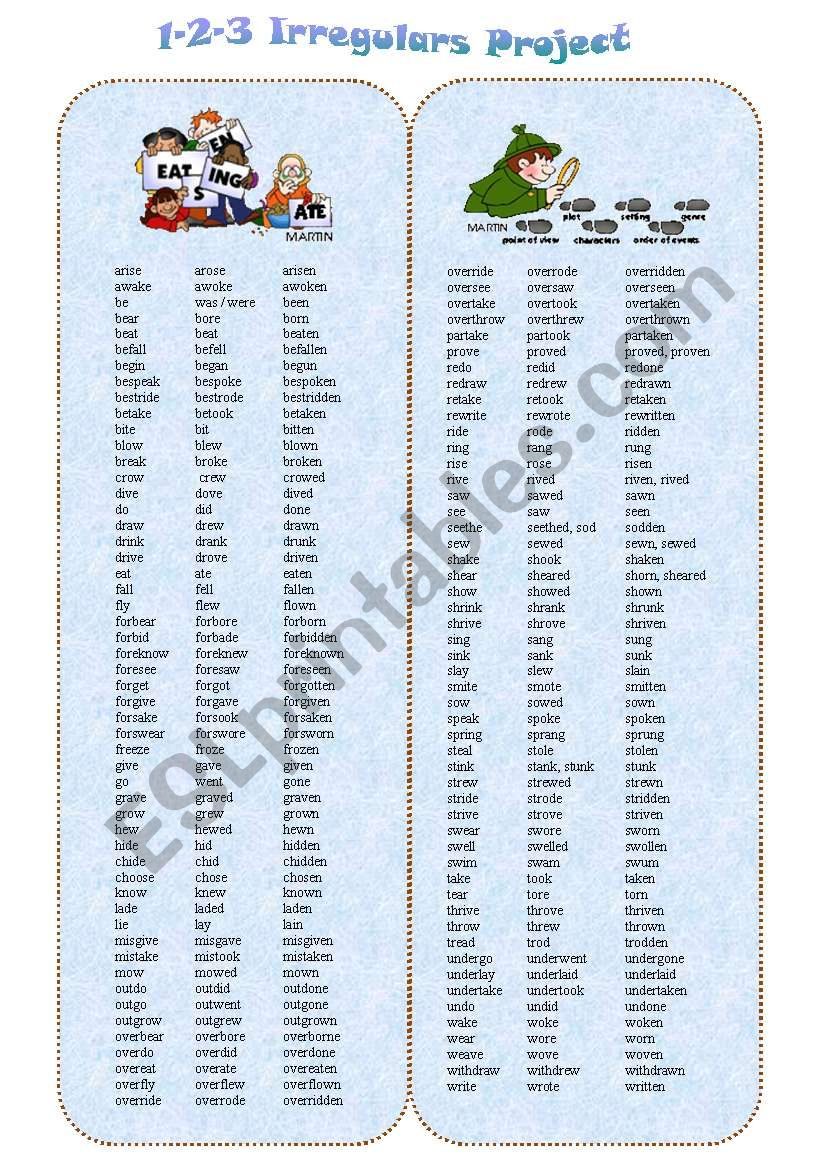 ALL IRREGULAR VERBS type 1-2-3 + BOARDGAME + SPINNER + Grammar Review + 22 GAMES + fill-in ex + HOLMES READING --13_PAGES - A2-B2 level