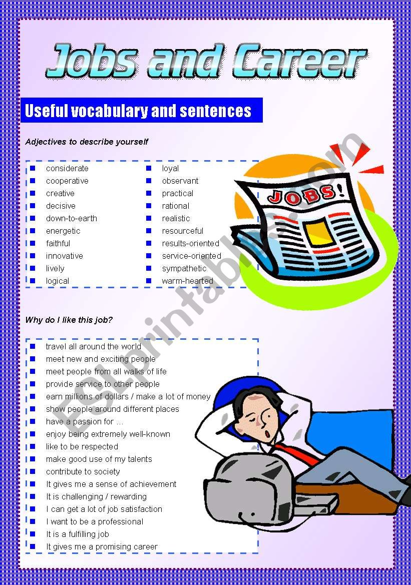 JOBS AND CAREER useful vocabulary and expressions