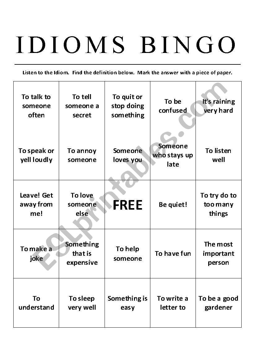 Idioms Bingo Esl Worksheet By Matthew Curtis