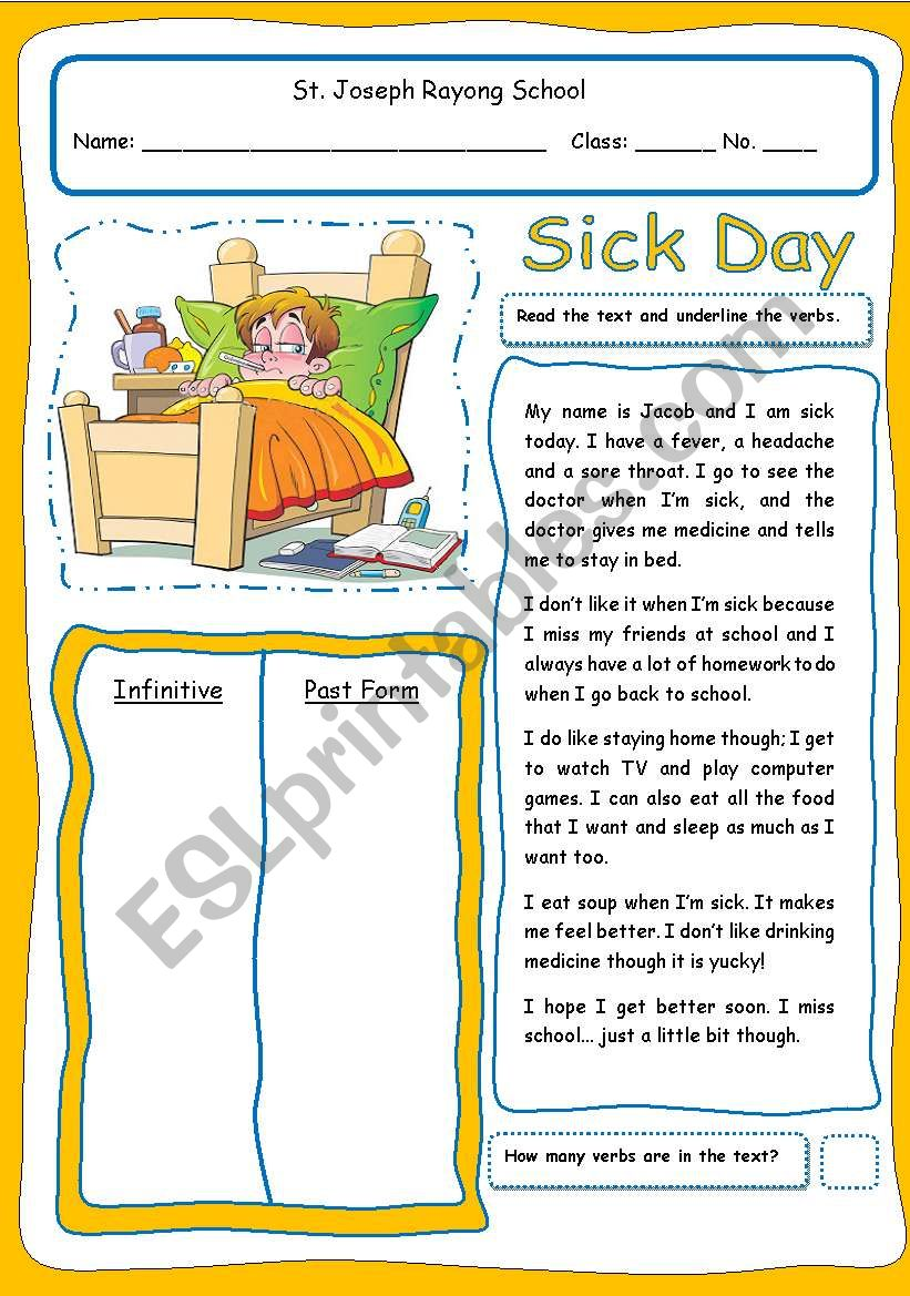 Sick Day (2 pages & fully editable)