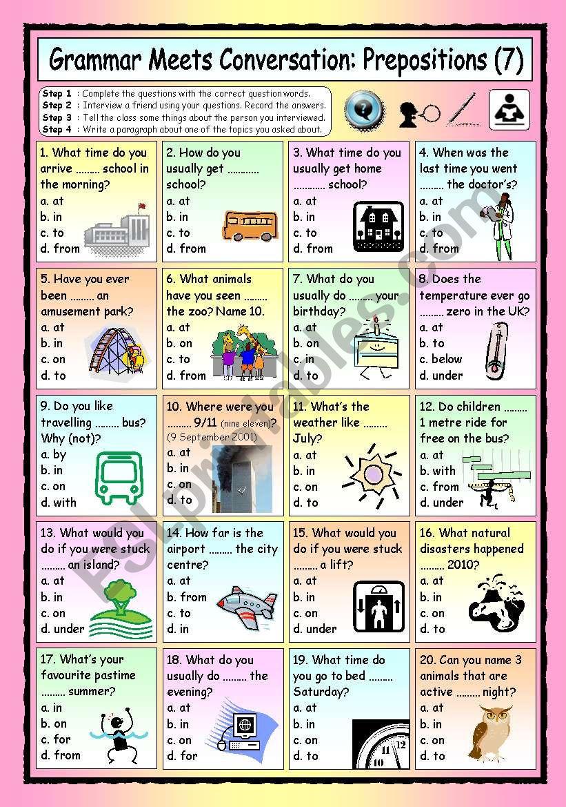 Grammar Meets Conversation Prepositions 7 Asking Questions Esl Worksheet By Philipr
