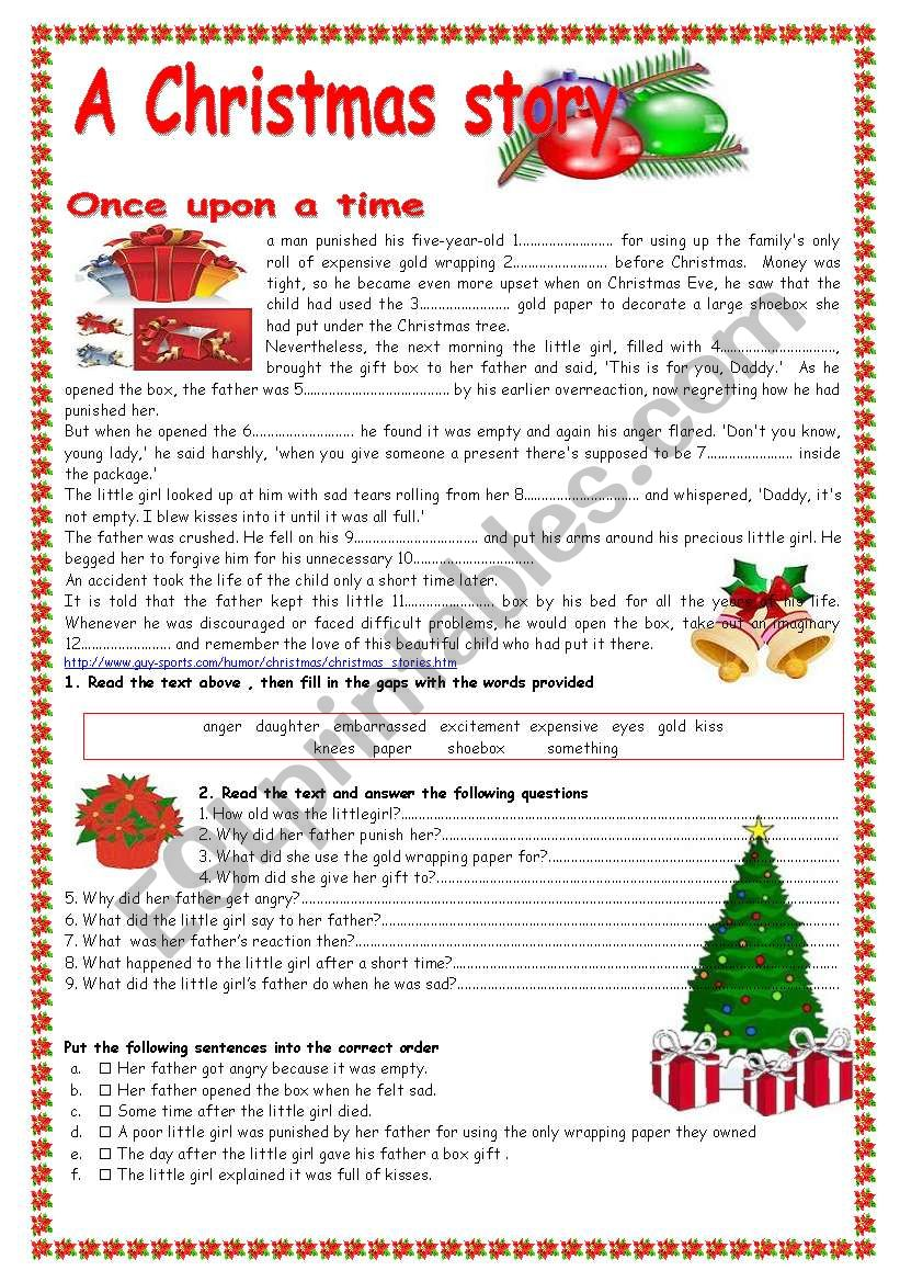 A Christmas story worksheet