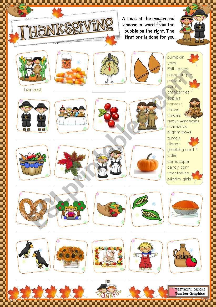 Thanksgiving  -  matching ex. worksheet