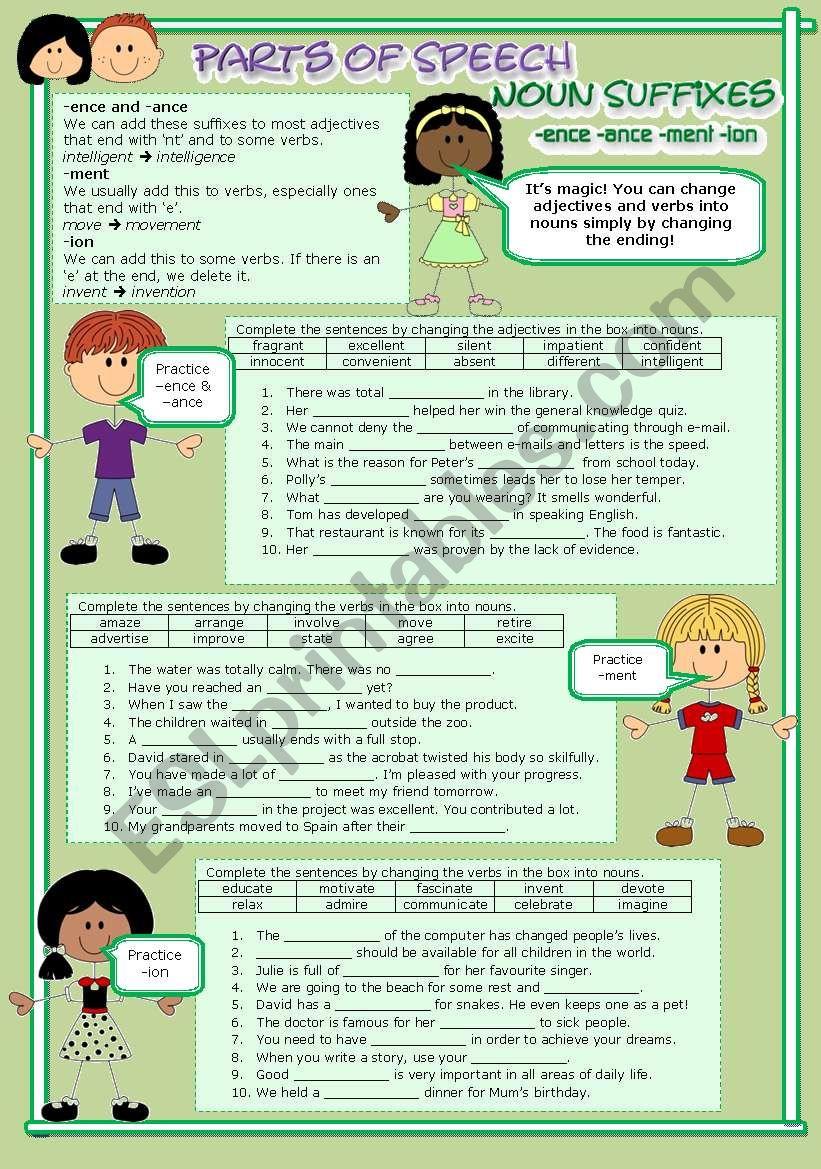 Parts of Speech (11) Noun suffixes