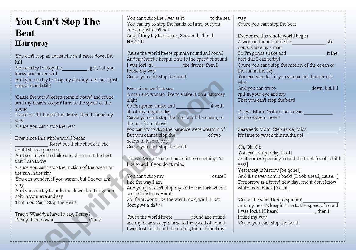 SONG: HAIRSPRAY - You Can´t Stop The Beat