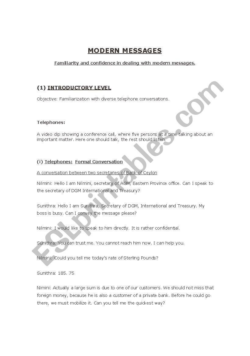 English worksheets: Modern Messages