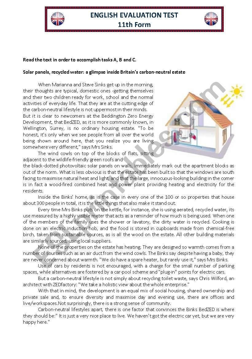 English Evaluation Test 11th worksheet