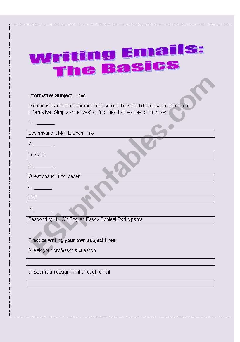 Writing Emails: Subject lines - ESL worksheet by CManciel