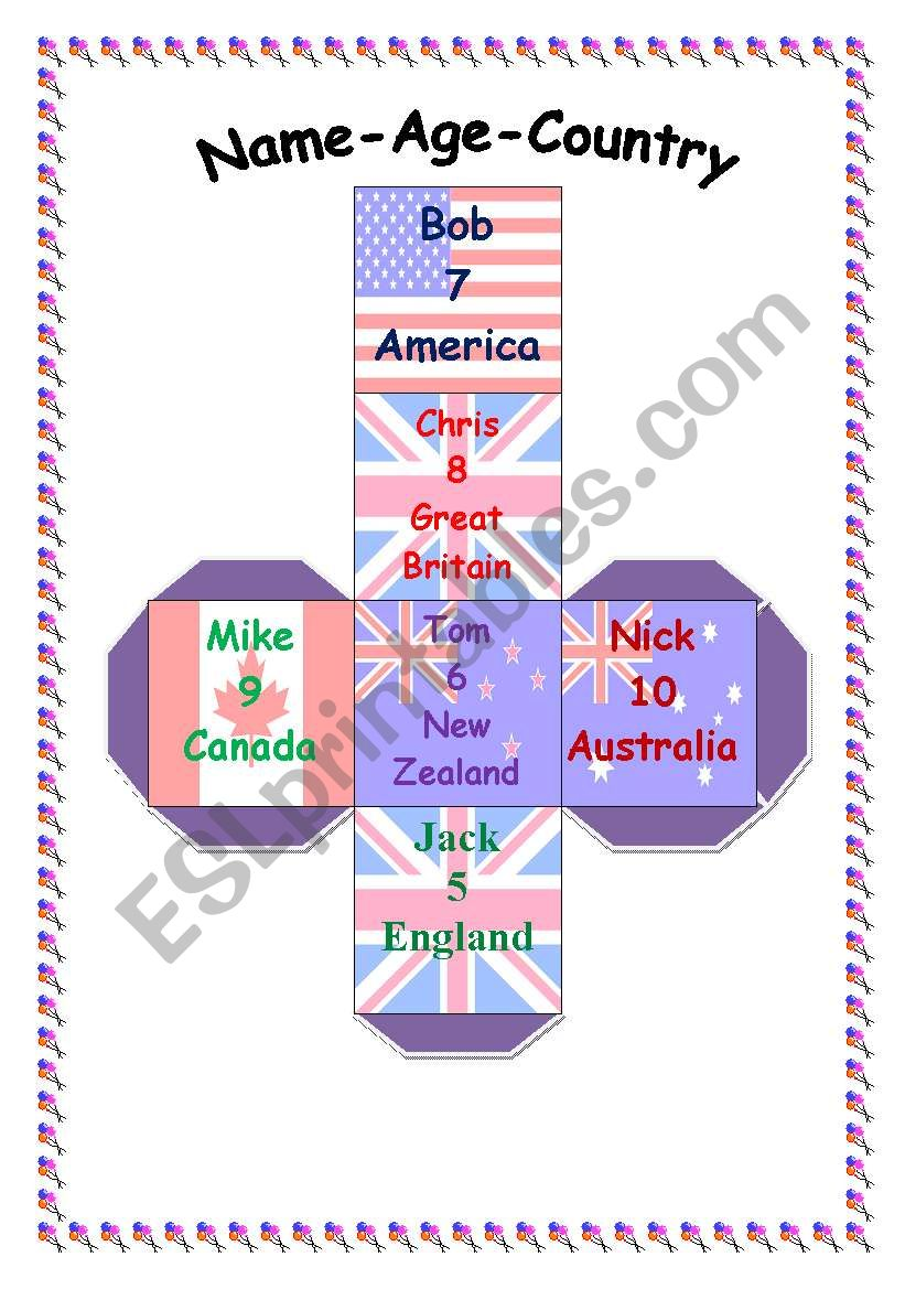 Name-Age-Country for BOYS worksheet