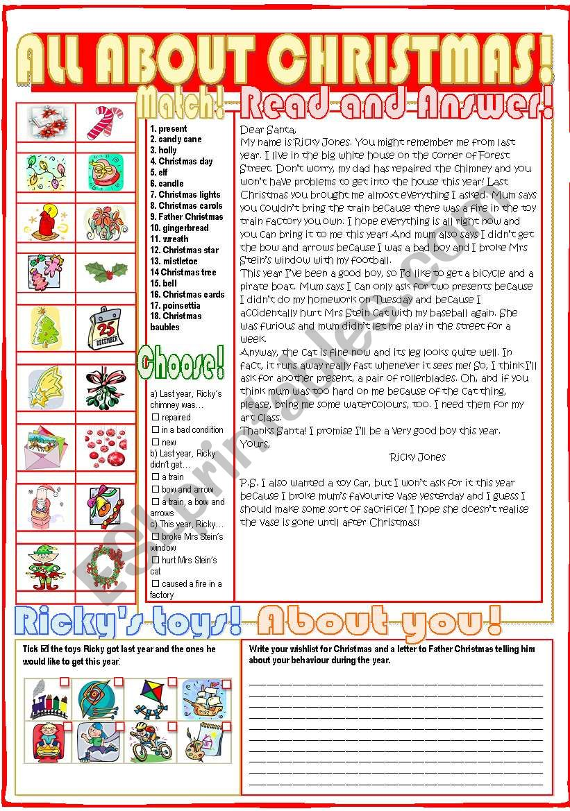 All About Christmas Esl Worksheet By Nuria08