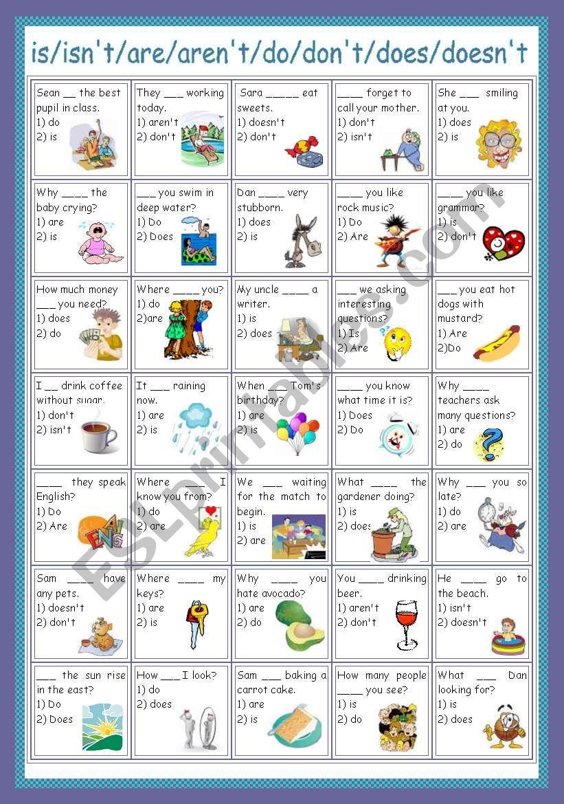 review (present) worksheet